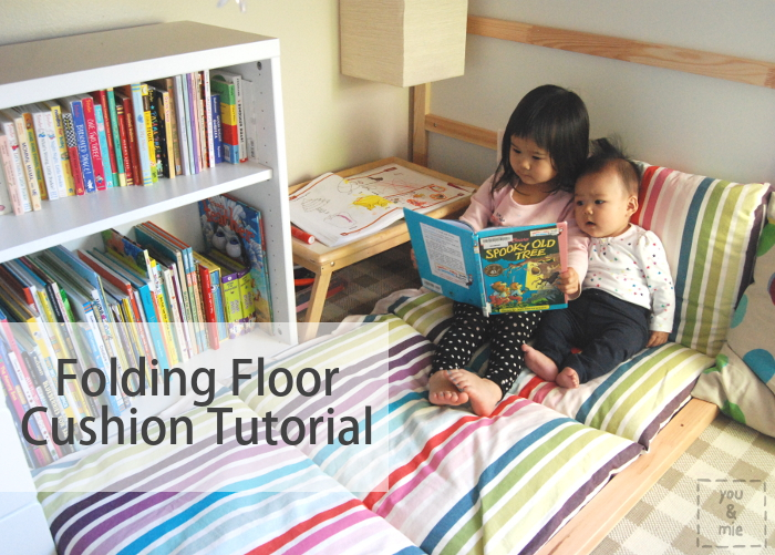 Folding floor cushion tutorial you and mie for Reading nook cushion