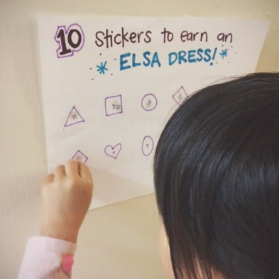 Earning her Elsa dress with chores // you & mie