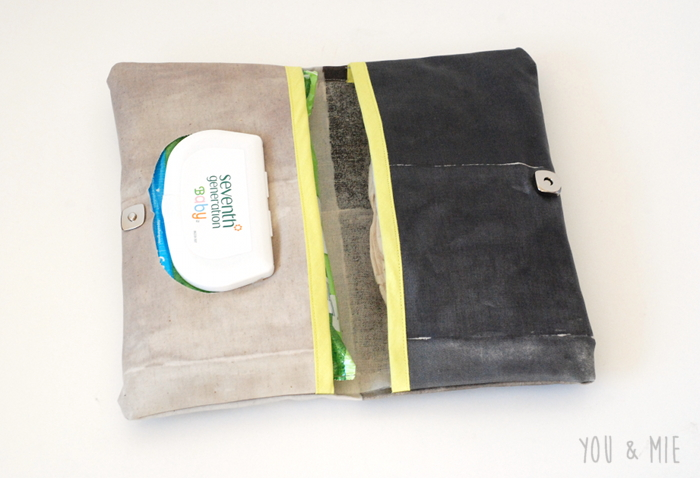 Laminated nani IRO Changing Pad and Diaper Clutch by you & mie
